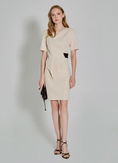 People By Fabrika Plikaşe Detaylı Elbise Bej